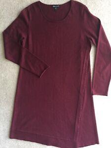 EILEEN-FISHER-Burgundy-Merino-Wool-Thin-Knit-Rib-Accent-Straight-Shift-Dress-M