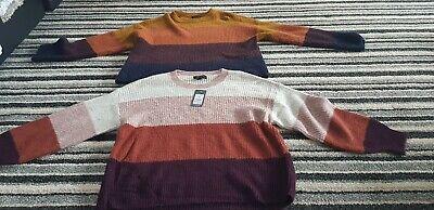 2x Nuovo Look Maglione A Righe Medio Rrp £ 24.99 (1 Con Etichette) Adolescente Da Donna Moderna- Elegante Nell'Odore