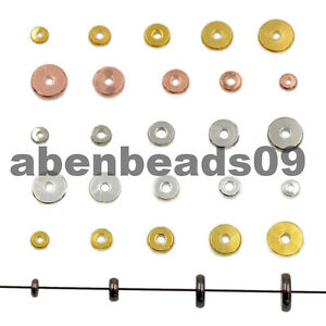 Solid-Metals-Round-Rondelle-Slice-Bracelet-Necklace-Connector-Spacer-Charm-Beads