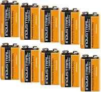 10x Batterie 9V Block Duracell Industrial MN1604-6LR61 Alkaline Polschutzk. Bulk