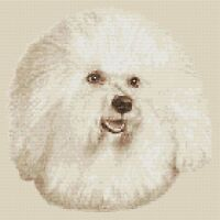 "Bichon Frise Dog Cross Stitch Design (Sepia,10""x10"",25x25cm,kit or chart)"