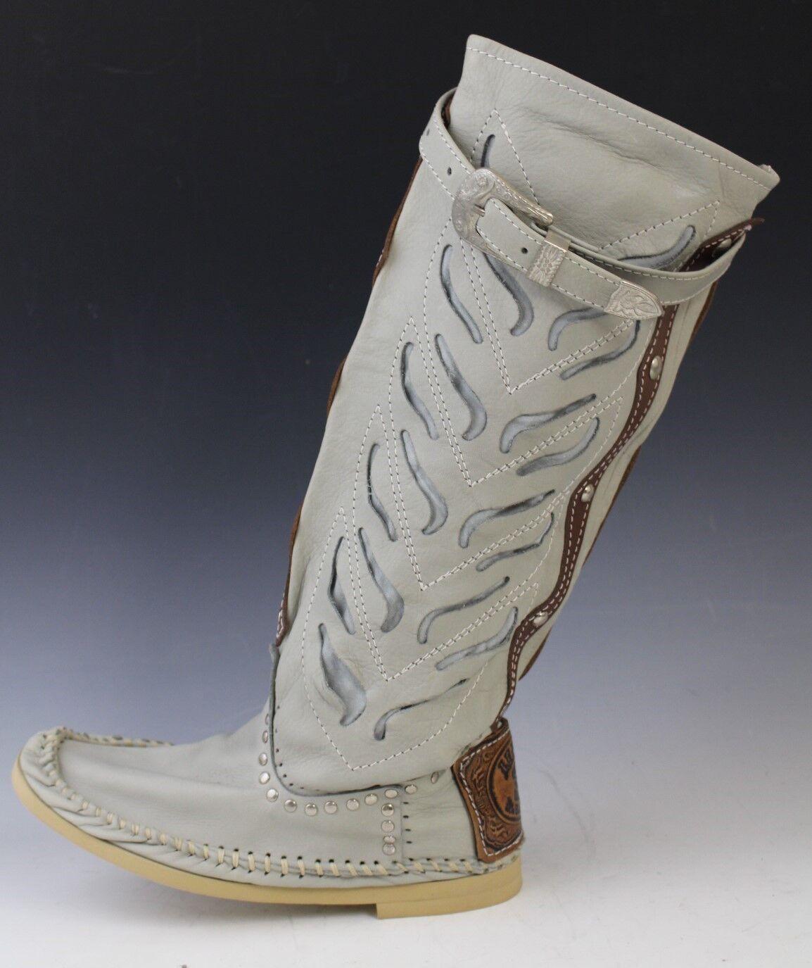Hector Italiensk läder Cowboy Style Mocasin Mocasin Mocasin stövlar skor TRAFORATO grå US 6  Alla varor är specialerbjudanden