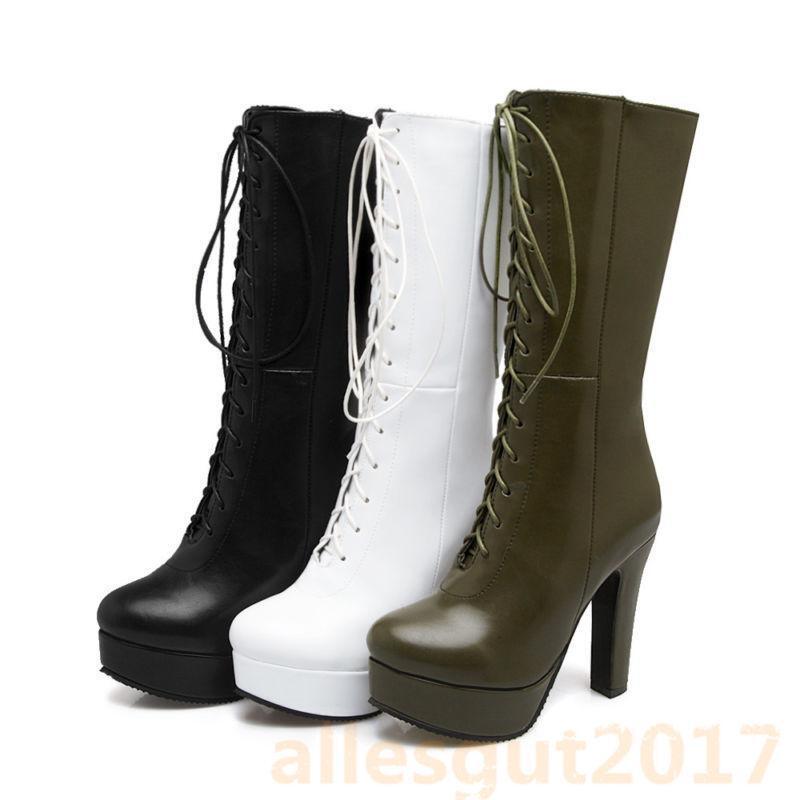 Chelsea Damenschuhe Wadenhohe Stiefel Blockabsatz Platform Punk Gr.33-49.50 Neu