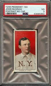 Rare-1909-11-T206-HOF-John-McGraw-Portrait-No-Cap-Piedmont-150-New-York-PSA-3-VG
