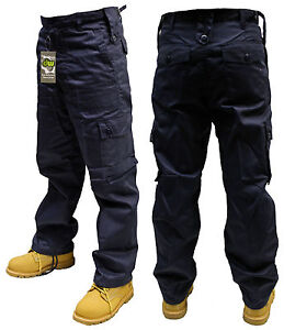 127cm INCH NAVY BLUE ARMY MILITARY CARGO COMBAT SECURITY TROUSERS ...