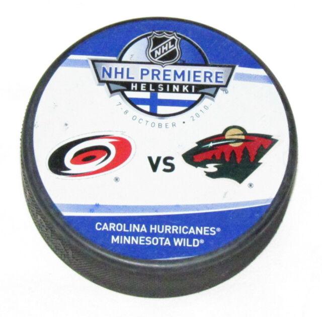 CAROLINA HURRICANES MINNESOTA WILD 2010 NHL PREMIERE GAME PUCK Helsinki Finland