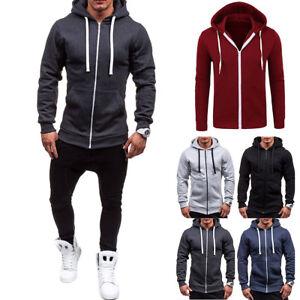 New Mens Solid Full Zip Up Hoodie Classic Hooded Zipper Sweatshirt Cotton Unisex