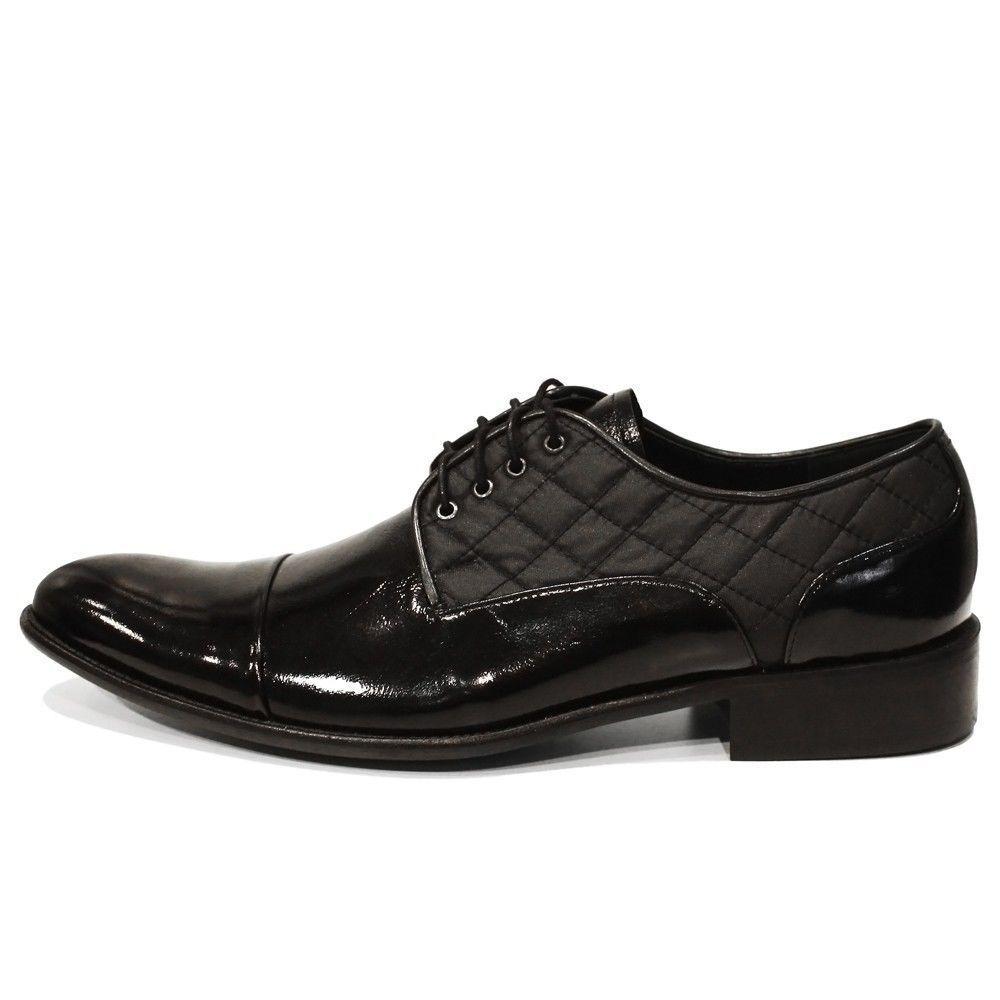Modello Quilti - Handmade Coloreeeeful Italian Leather Oxfords Dress scarpe nero