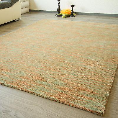 Moderner Gabbeh Teppich Nomade - handgewebt aus 100% Schurwolle - grün orange