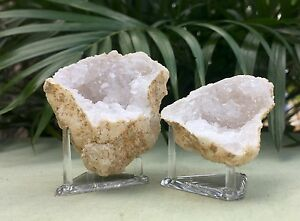 Natural-Geode-Pair-With-Stand-Crystal-Geode-Quartz-Druze-Specimen-Morocco-Geode