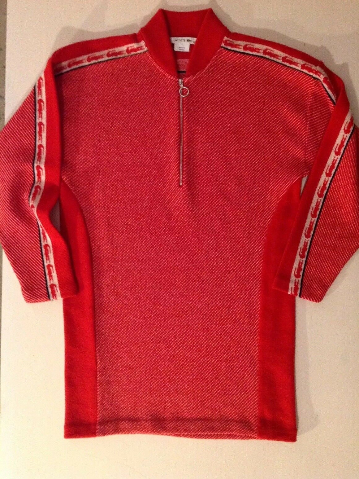 LACOSTE WOMEN'S RED PURE WOOL SWEATER DRESS SIZE 40 M or L