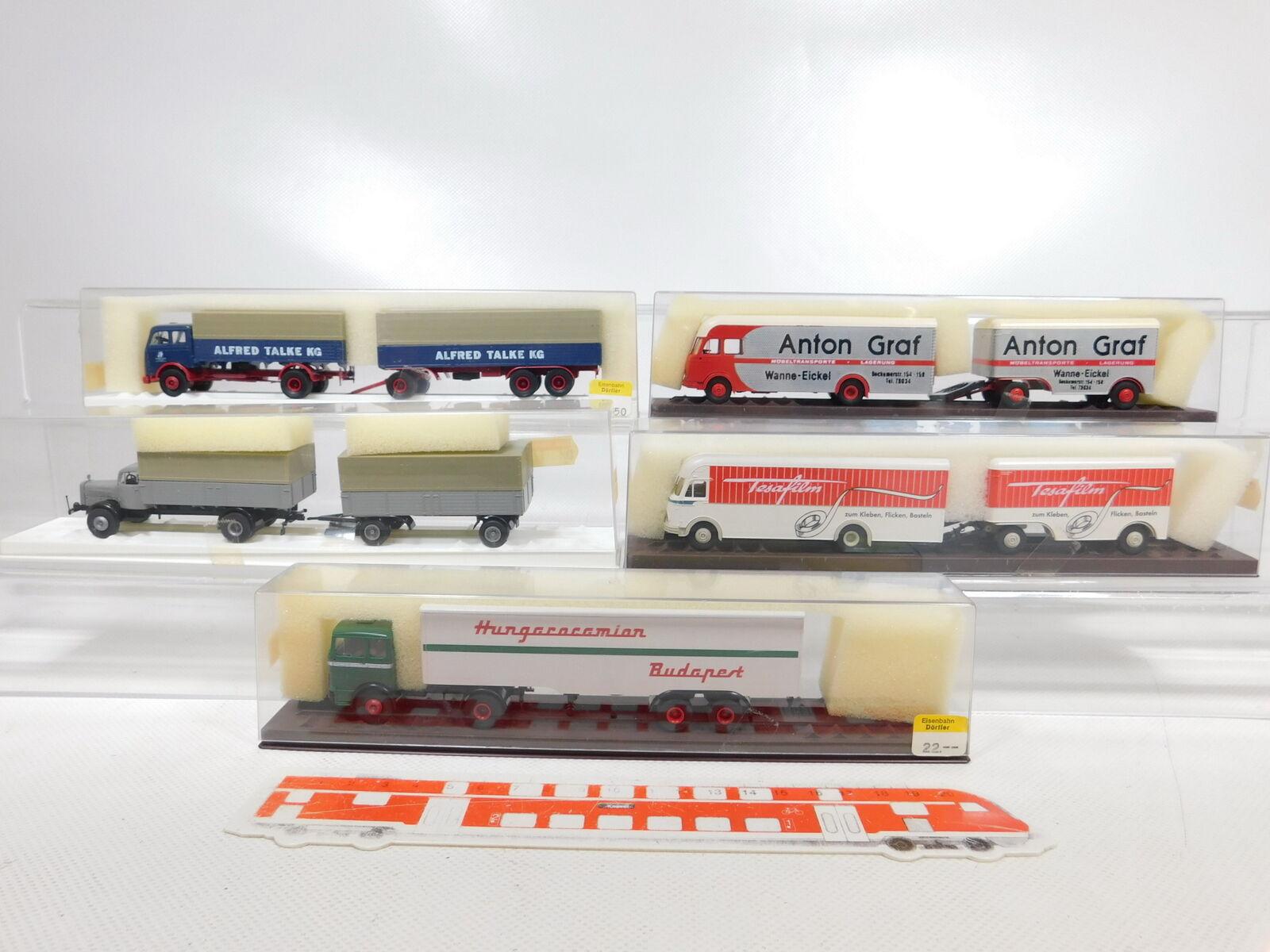 CA357-1  5x Brekina 1 87 H0 LKW MB  8105+4400+5710+57204+7626, s.g.+OVP