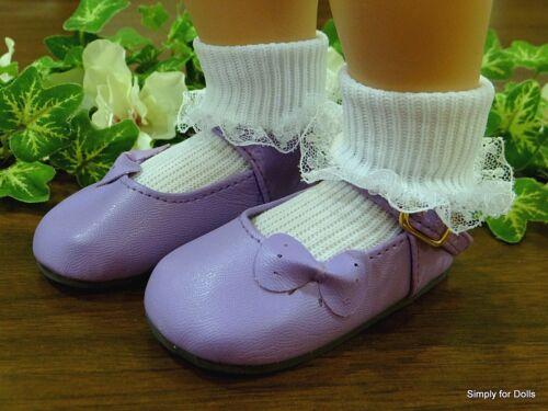 """MY TWINN Dark Purple w// Side Bow MARY JANE DOLL Dress SHOES fits 23/"""" Poseable"""
