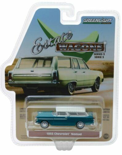 OVP 1955 Chevrolet Nomad DARK Turchese *** Greenlight Estate Wagon 1:64 NUOVO