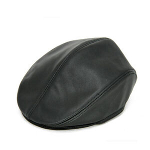 94d066092da74 Men s Leather Earflaps Golf Beret Hats Warm Winter Outdoor Leather ...