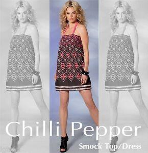 e33e6668ef99 CHILLI PEPPER SUMMER SMOCK TOP DRESS AZTEC BLACK MIX SIZE SMALL (UK ...