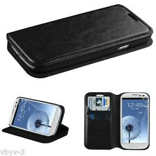 BLACK Leather Wallet Case Cover Folio Flip Pouch for Samsung i9300 Galaxy S3 III