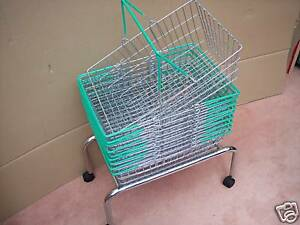 10 Wire Shopping Baskets Green Handles & Mobile Stand