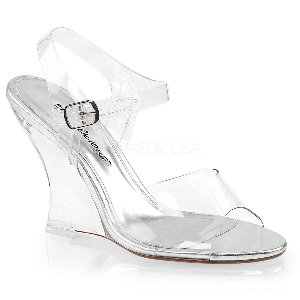 PLEASER Sexy 4  Haut Talons Compenses Prom Pageant Bride Cheville chaussures Sandales LOV408 C M