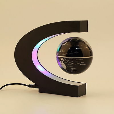 C shape LED World Map Decoration Magnetic Levitation Floating Globe Light CU