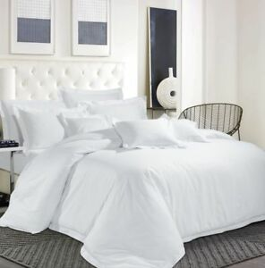 Egyptian-Cotton-600-039-039-TC-Hotel-White-Bedding-Set-Duvet-Cover-Solid