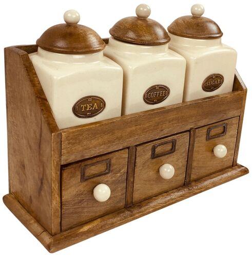 En Bois Tiroirs Céramique Pots à thé café sucre hermétique bidons Kitchen Set