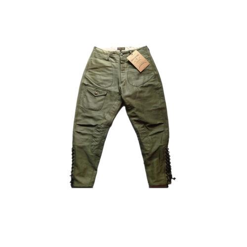 Breeches Vintage Heavy 14OZ  Military Green Solid Cotton 100/% Batik Pants