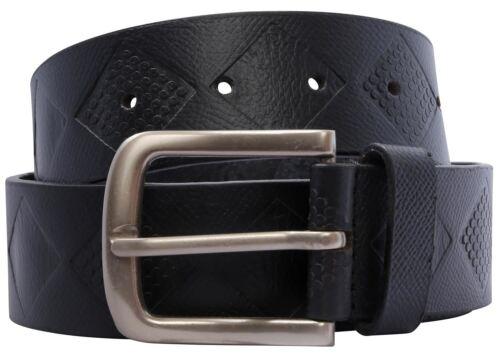 New Mens Black Genuine Leather Diamond Pattern Buckle Leather Belts S-3XL