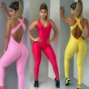 Womens Anti-Cellulite Yoga Pants Push Up Leggings Honeycomb Sports Gym Jumpsuit