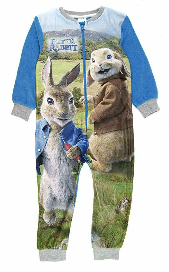 Blue, 3-4 Years Peter Rabbit Fleece All in One Sleepsuit Pyjama One Piece Night Wear Boy Girl