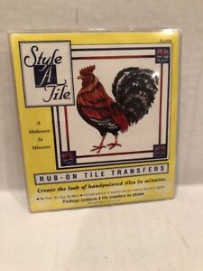 1997 Style A Tile Rub On Tile Transfers Rooster Packet