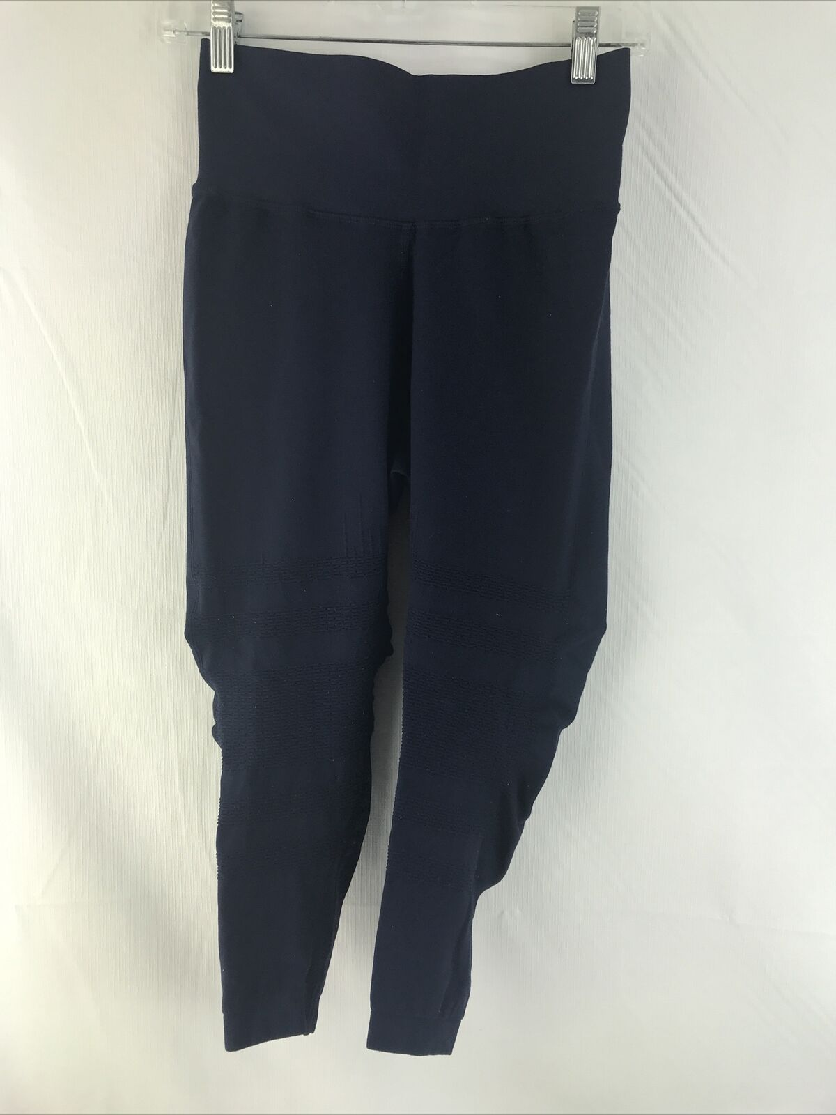 Soulcycle Womens Size M/L Blue Stretch Fishnet Cropped Leggings Activewear worn