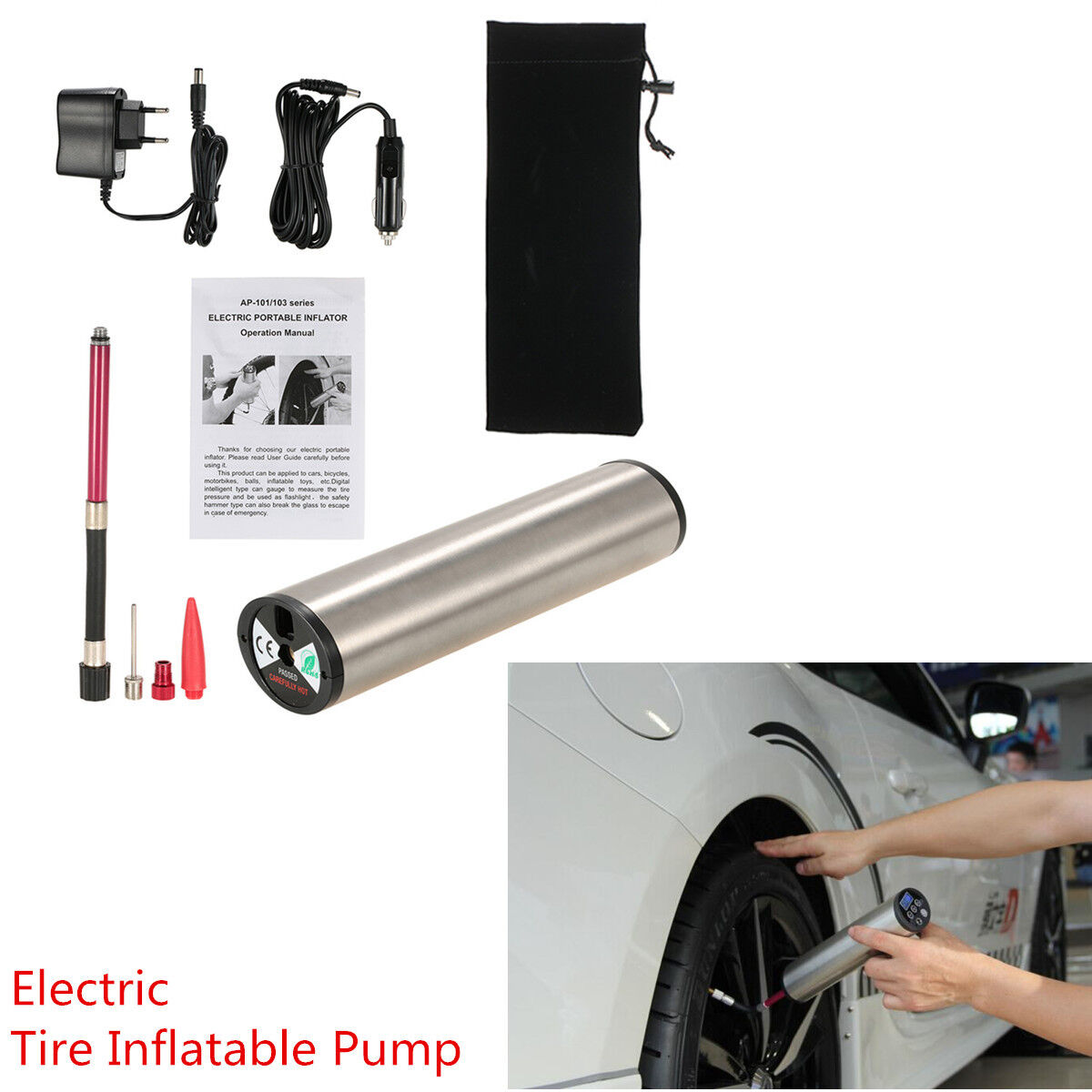 Car Motorcycle Bike Tire LCD Display 12V Electric Air Compressor Inflatable Pump