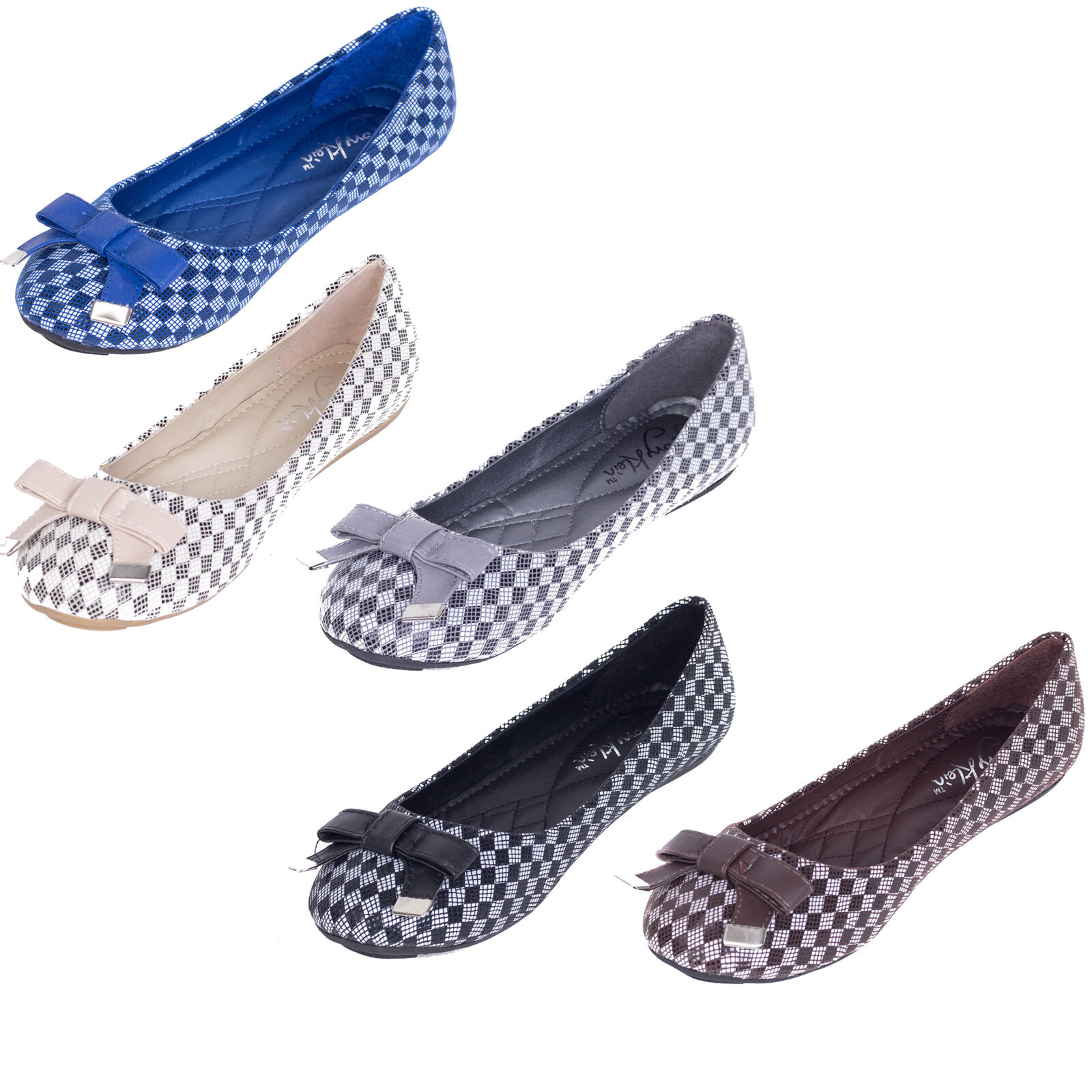 NEW * /w Women Ballerina Ballet Flats /w * Bow, Ladies Classic Slip-On Loafers Shoes 02dc01