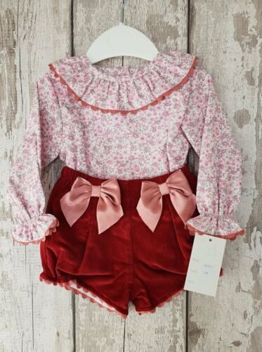 Spanish Style Baby Girl Jam Pants and Frill Collar Top Set Outfit.