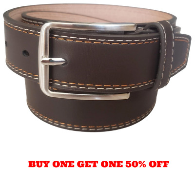Men/'s Plain Brown Leather Casual Dress Belt With Removable Snap On Silver Buckle