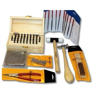 Metal Stamping Tool Kit with Alphanumeric Stamps and Assorted Tools and Anvil 661825108847