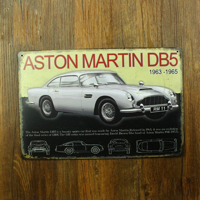 1963-65 Aston Martin DB5 Tin Sign Decor Garage Display James Bond 007 British GB