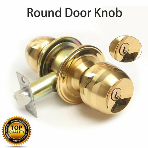 Round Ball Passage Knob Set POLISHED BRASS Internal//External Door Handle Latch