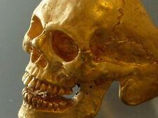Mens ring skull handmade gold skullring biker masonic bronze brass custom skull