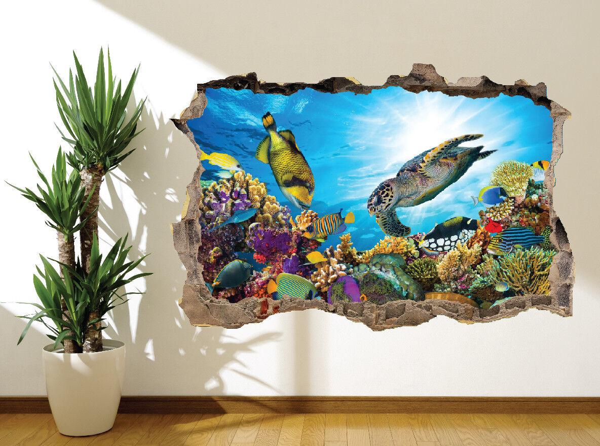 Superbe sous L'Eau Mural Récif de Corail Poisson Tortue Autocollant Mural L'Eau Décoration ( b6c050
