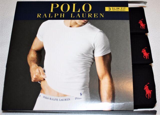 ab3573960ab72 Polo Ralph Lauren SLIM FIT Three 3 Pack Cotton Crew Neck T Tee Shirt BLACK  New