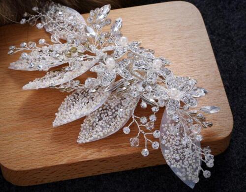 Floral Rhinestone Headdress Crystal Bridal Accessories Pearls Wedding Hair Clip