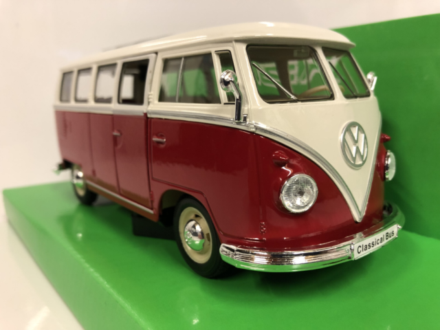 1963 Volkswagen T1 Bus Red White 1:24 27 Scale Welly 22095W