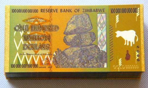 100 Pcs Zimbabwe 100 Trillion Dollar Gold Plated Bills+10 Certi.//Not WR