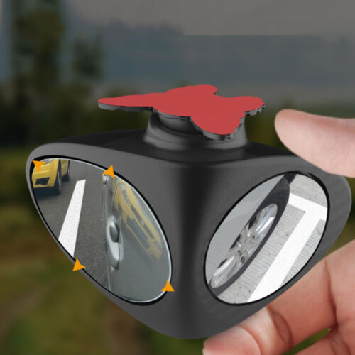 2in1 Left 360 Rotation Car Blind Spot Mirror Wide Angle Adjustable Convex Black