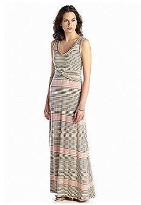 Sophie Max Studio 4B05F67 Pink Heather Stripe Stretch Jersey Maxi Dress $118