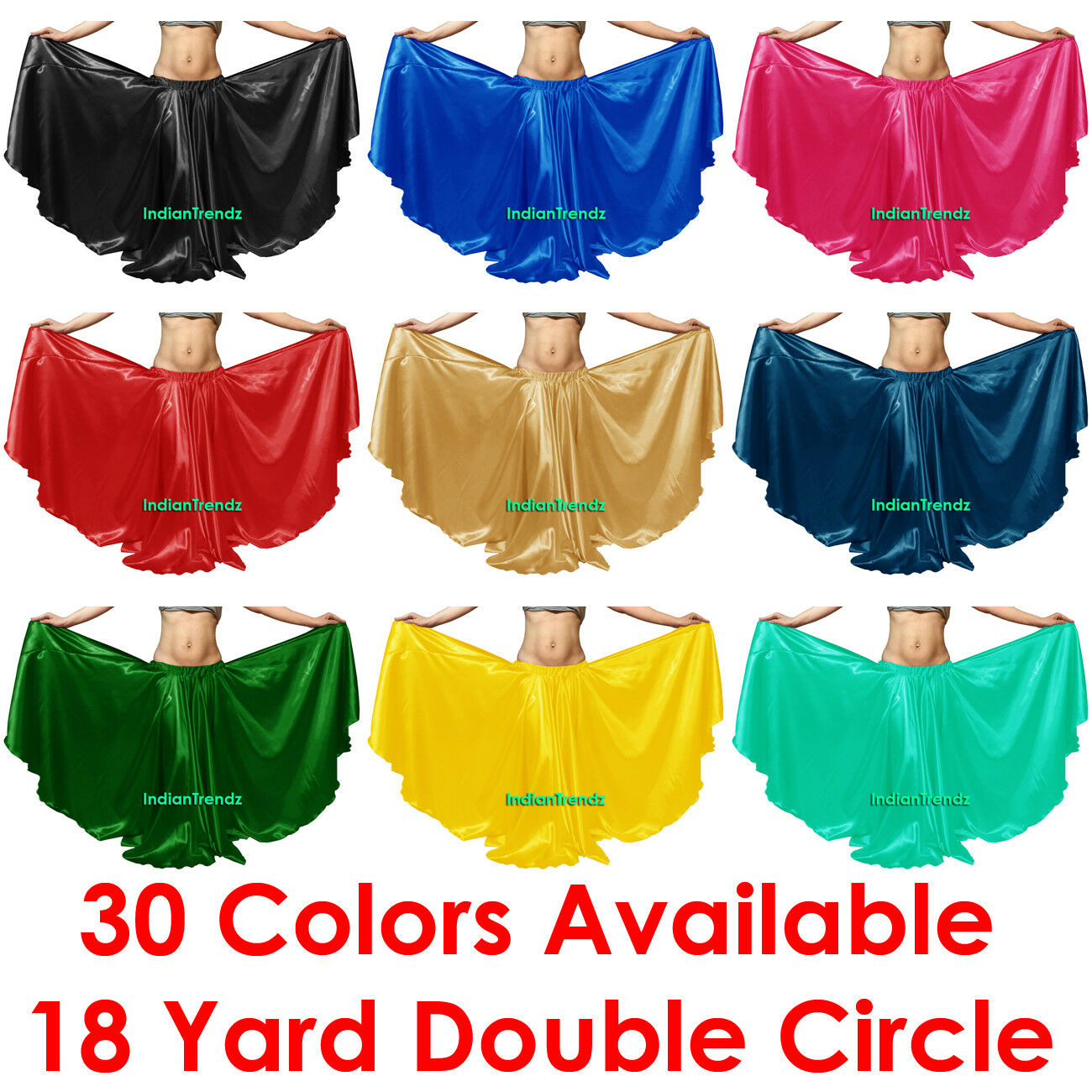 Satin 16 Yard Double Circle Skirt Belly Dance Gypsy Tribal Flamenco Boho Jupe