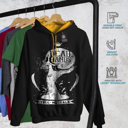 Skull cappuccio Head Felpa oro Goth Dead Men con New Black cappuccio Hand nfwT5YOTq