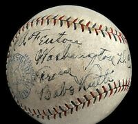 "1928 Babe Ruth (""8"" strength)  & Lou Gehrig (""5"") Signed Baseball - Full JSA"
